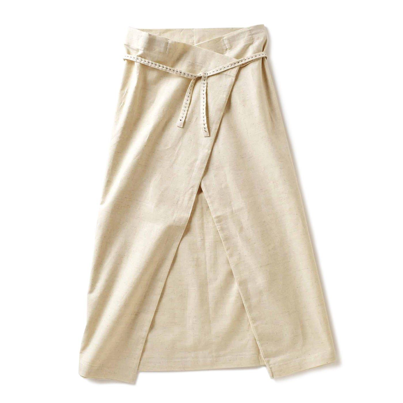 チャレンジド・クリエイティブ・プロジェクト ハンドステッチがやさしい 自在に着られる リネン混ラップスカート〈ホワイト〉