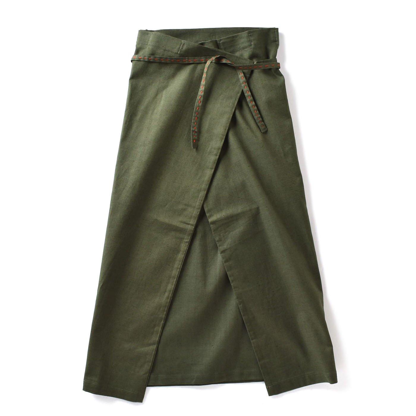 チャレンジド・クリエイティブ・プロジェクト ハンドステッチがやさしい 自在に着られる リネン混ラップスカート〈グリーン〉
