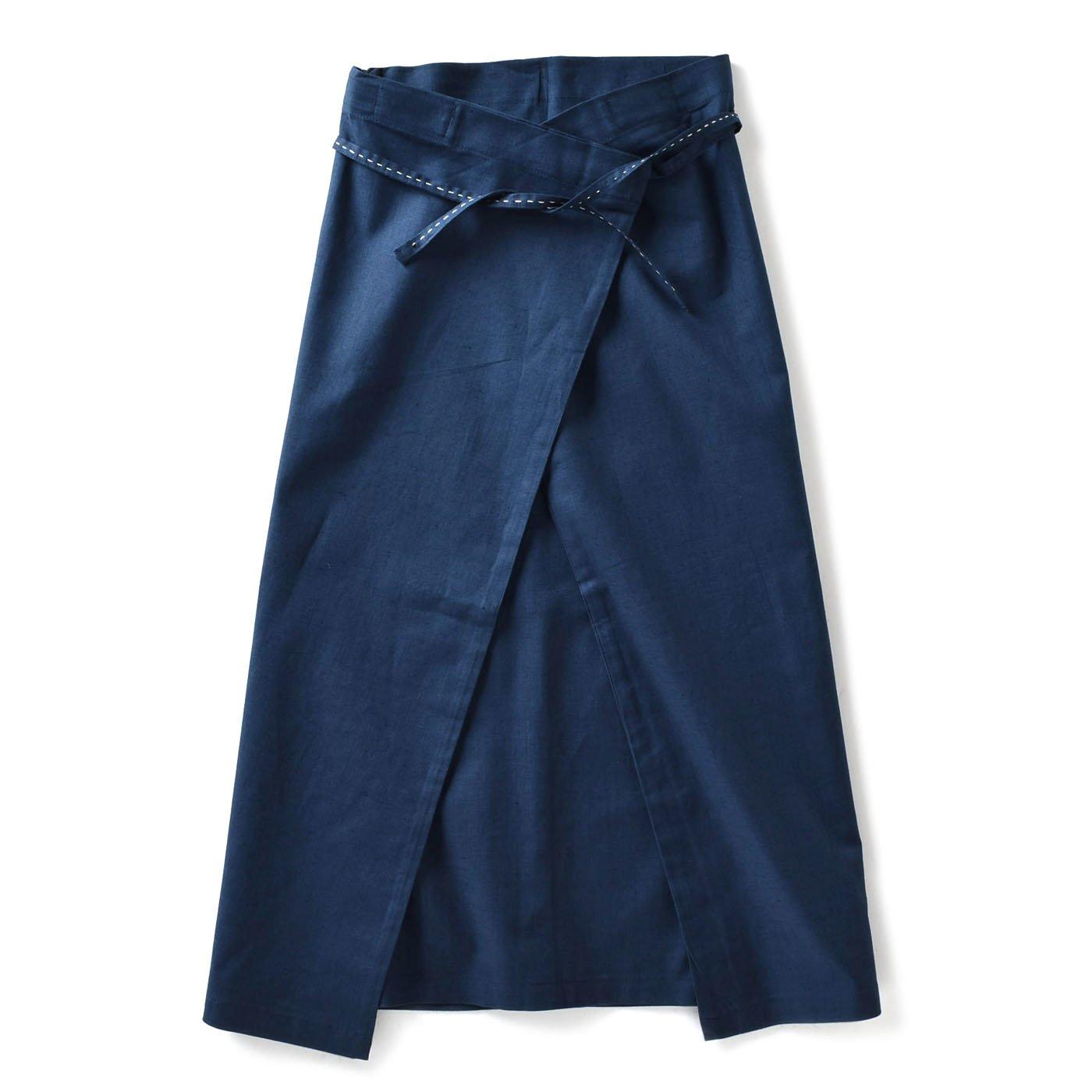 チャレンジド・クリエイティブ・プロジェクト ハンドステッチがやさしい 自在に着られる リネン混ラップスカート〈ネイビー〉