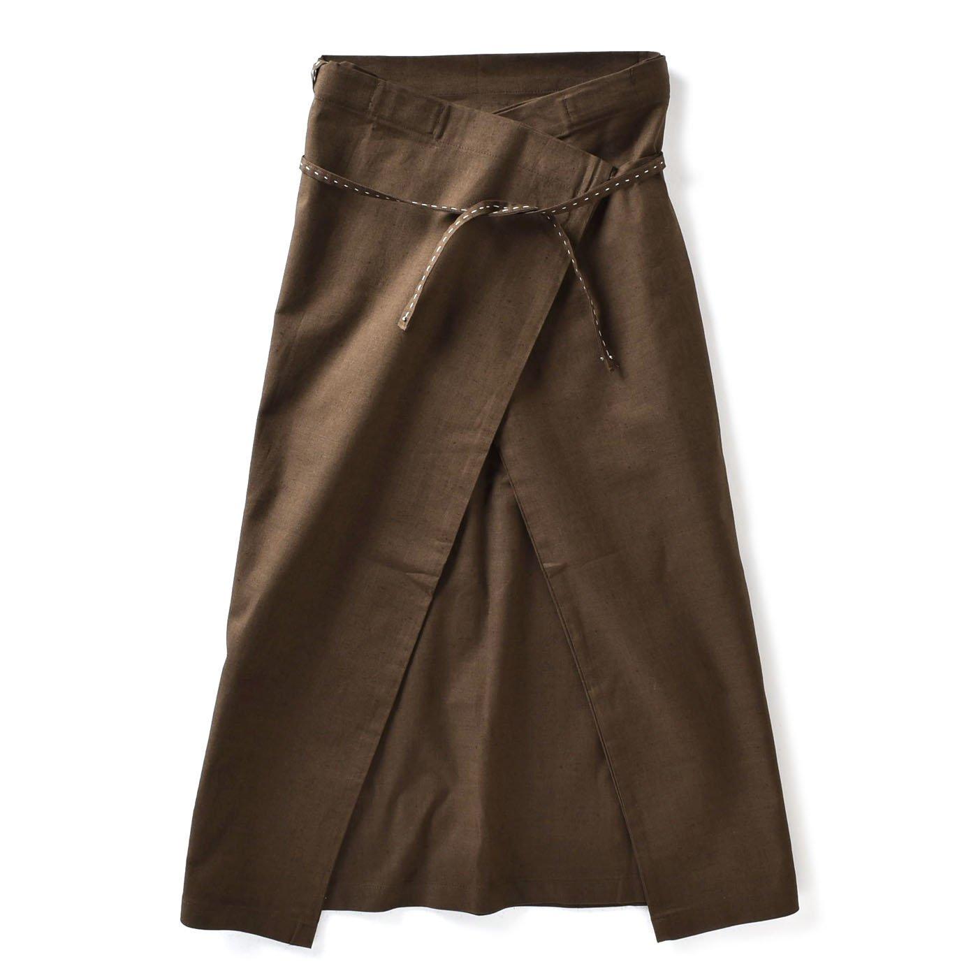 チャレンジド・クリエイティブ・プロジェクト ハンドステッチがやさしい 自在に着られる リネン混ラップスカート〈ブラウン〉