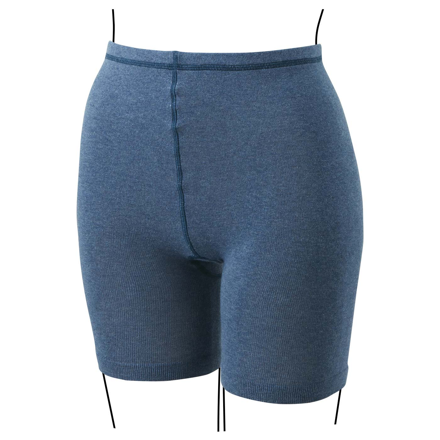 ブルー ひざ丈スカートでも見えにくい短め丈。きれいめスタイルの日も安心してはけます。また上深めで、おなかもしっかり覆います。