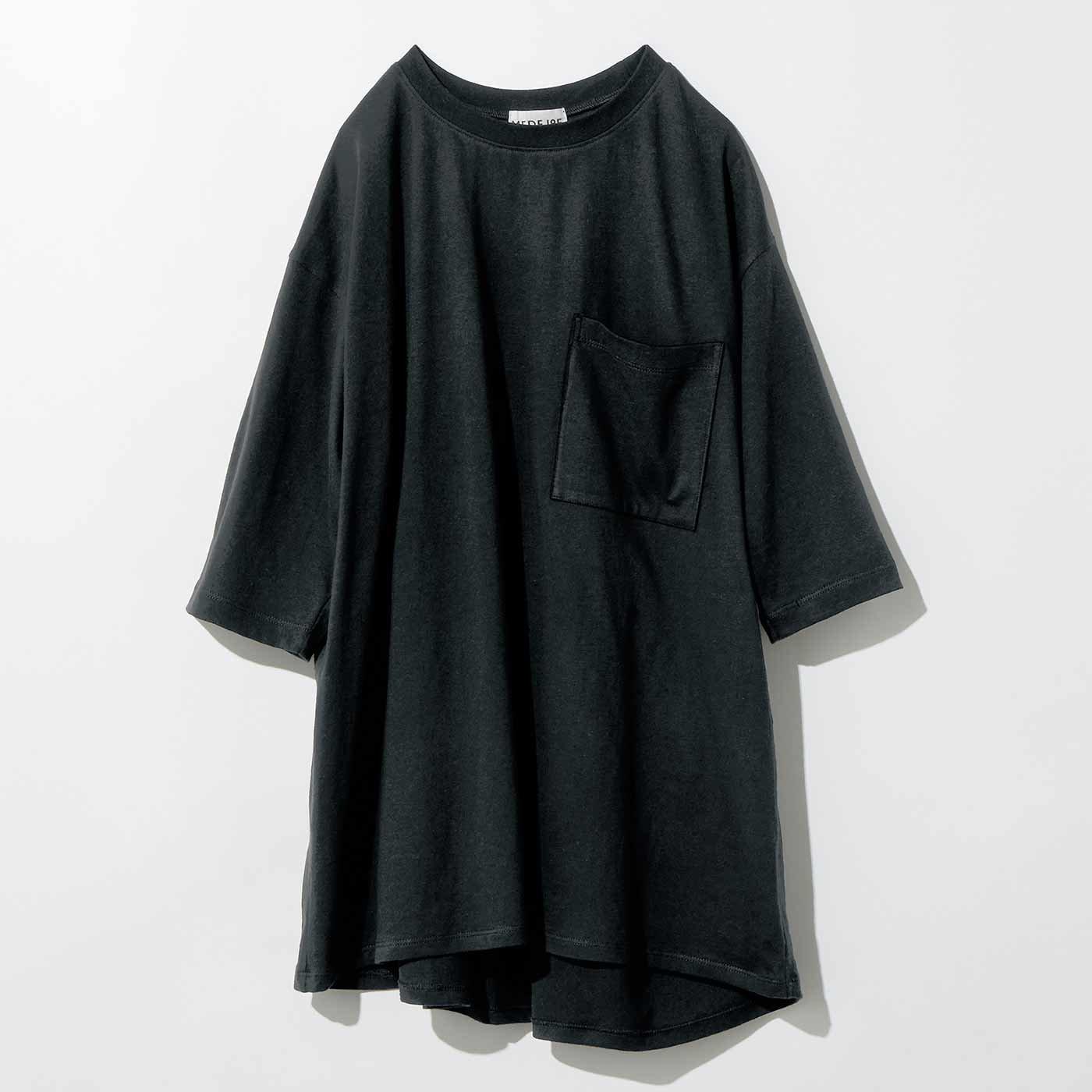 MEDE19F バックデザインのリメイク風Tシャツ〈ブラック〉