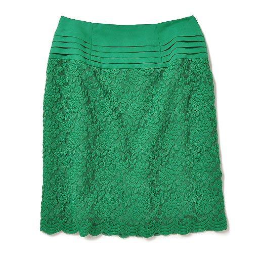 エムトロワ レディーモードなチュールレーススカート:グリーン