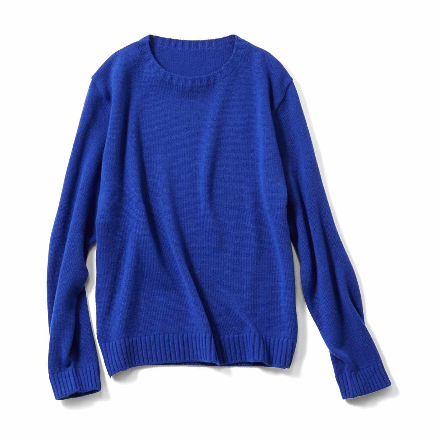 THREE FIFTY STANDARD 気軽なカラーセーター〈ブルー〉