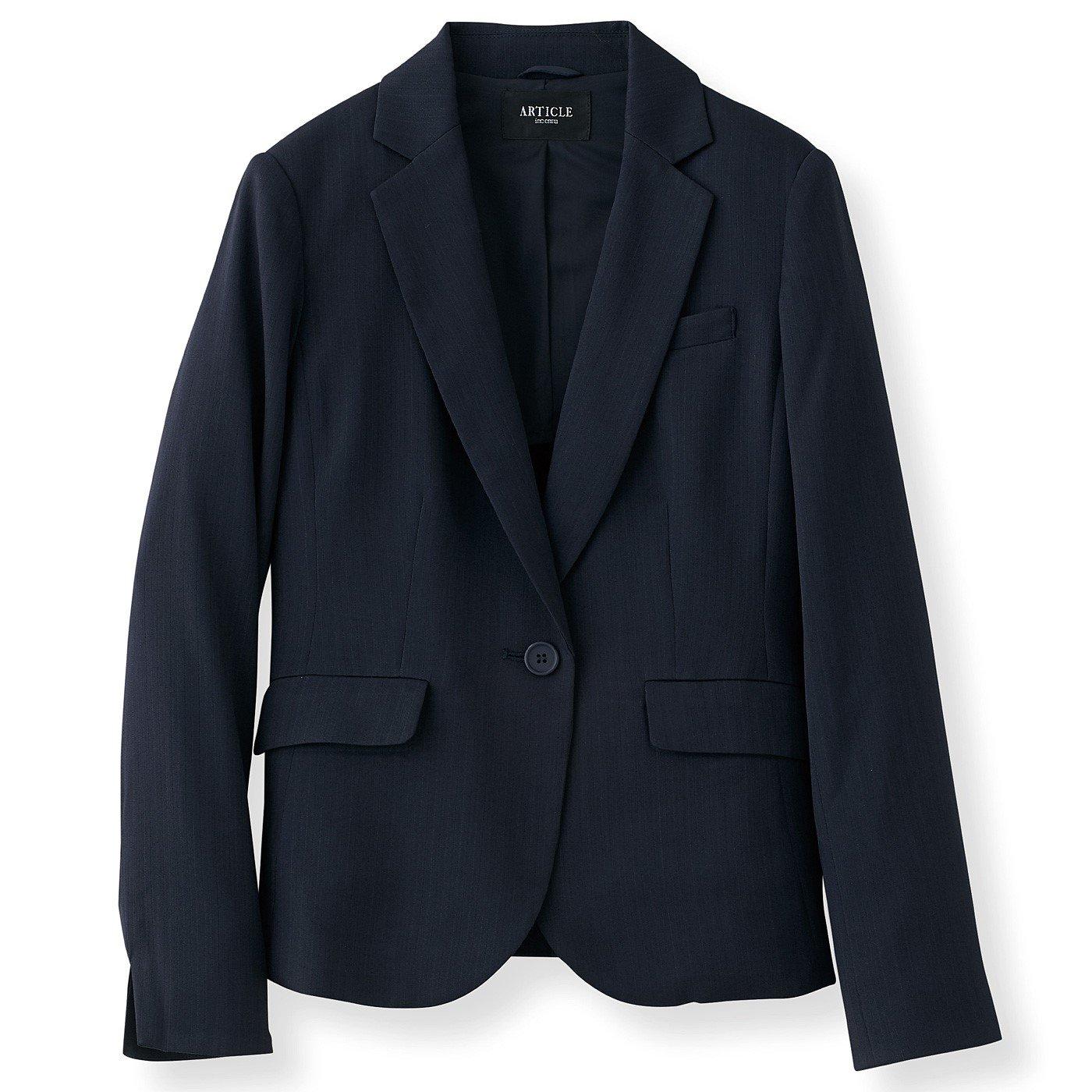 DRECOバイヤーズセレクト 上品光沢のストライプ洗練スーツジャケット〈ネイビー〉