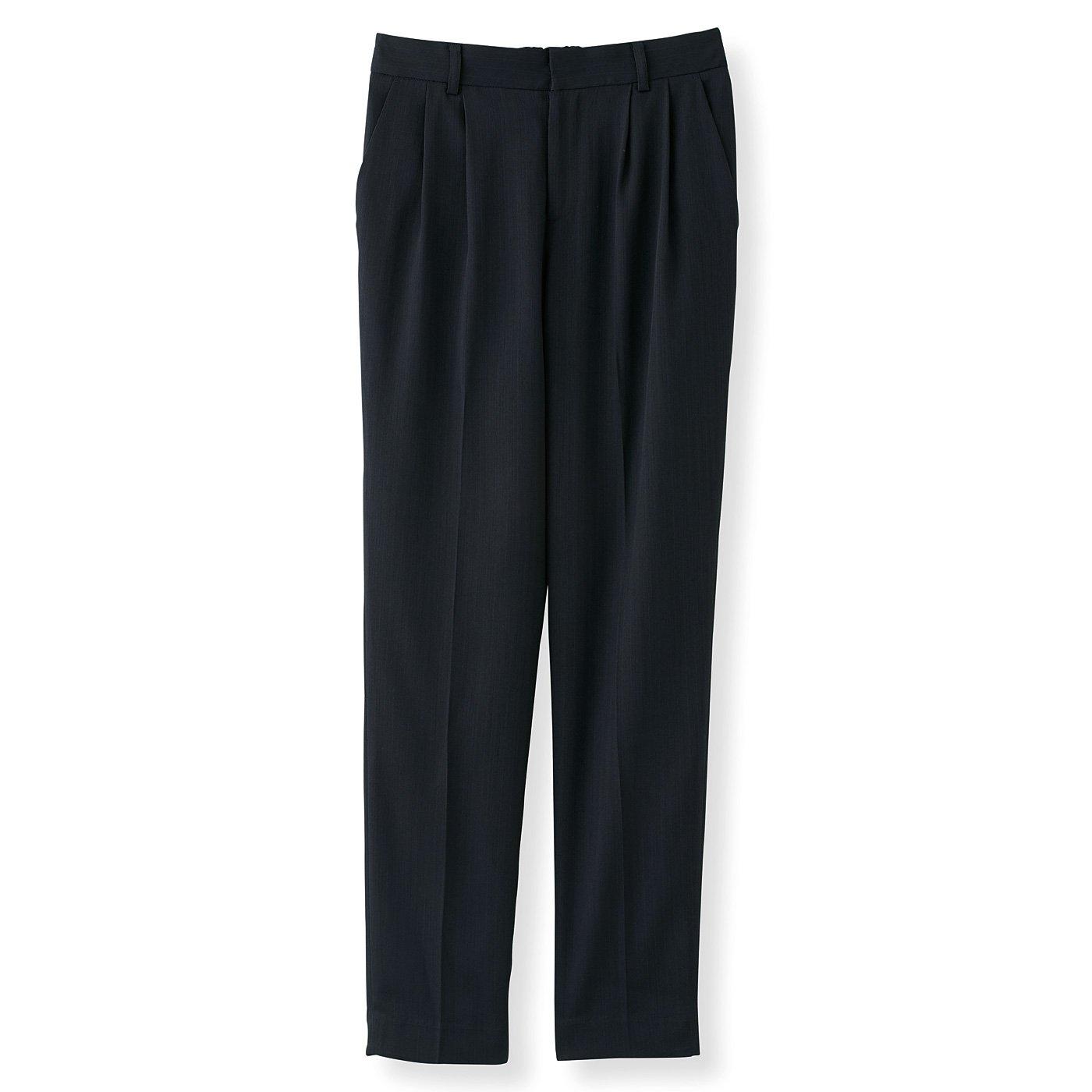 DRECOバイヤーズセレクト 上品光沢のストライプ洗練スーツパンツ〈ネイビー〉