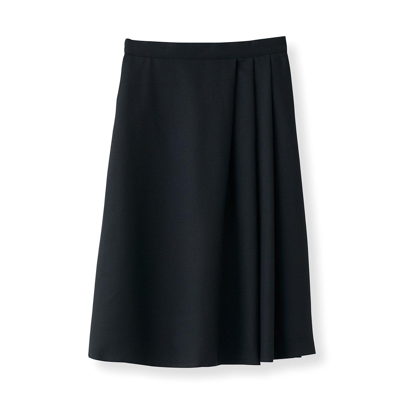 DRECOバイヤーズセレクト タックデザインが旬な ジョーゼットミディスカート〈ブラック〉