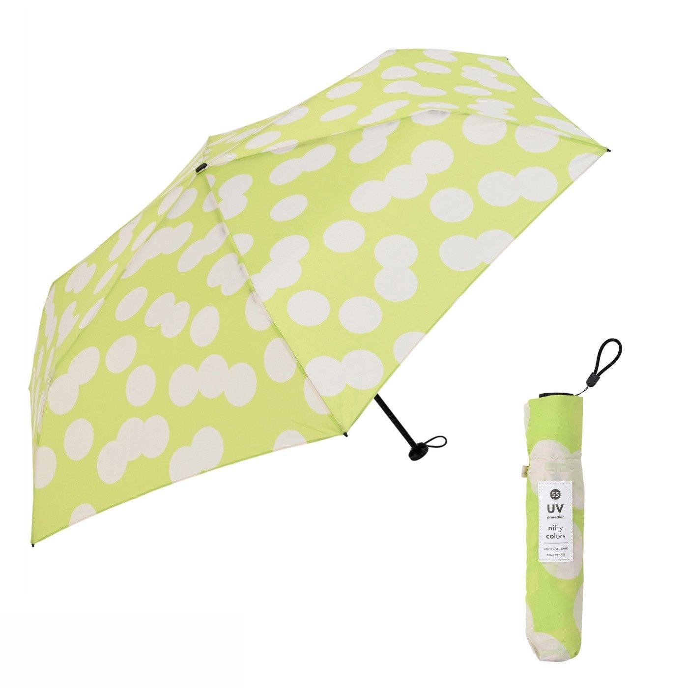 たたんでコンパクト!ちょっと大きめ55cm ランダムドットがおしゃれな晴雨兼用傘