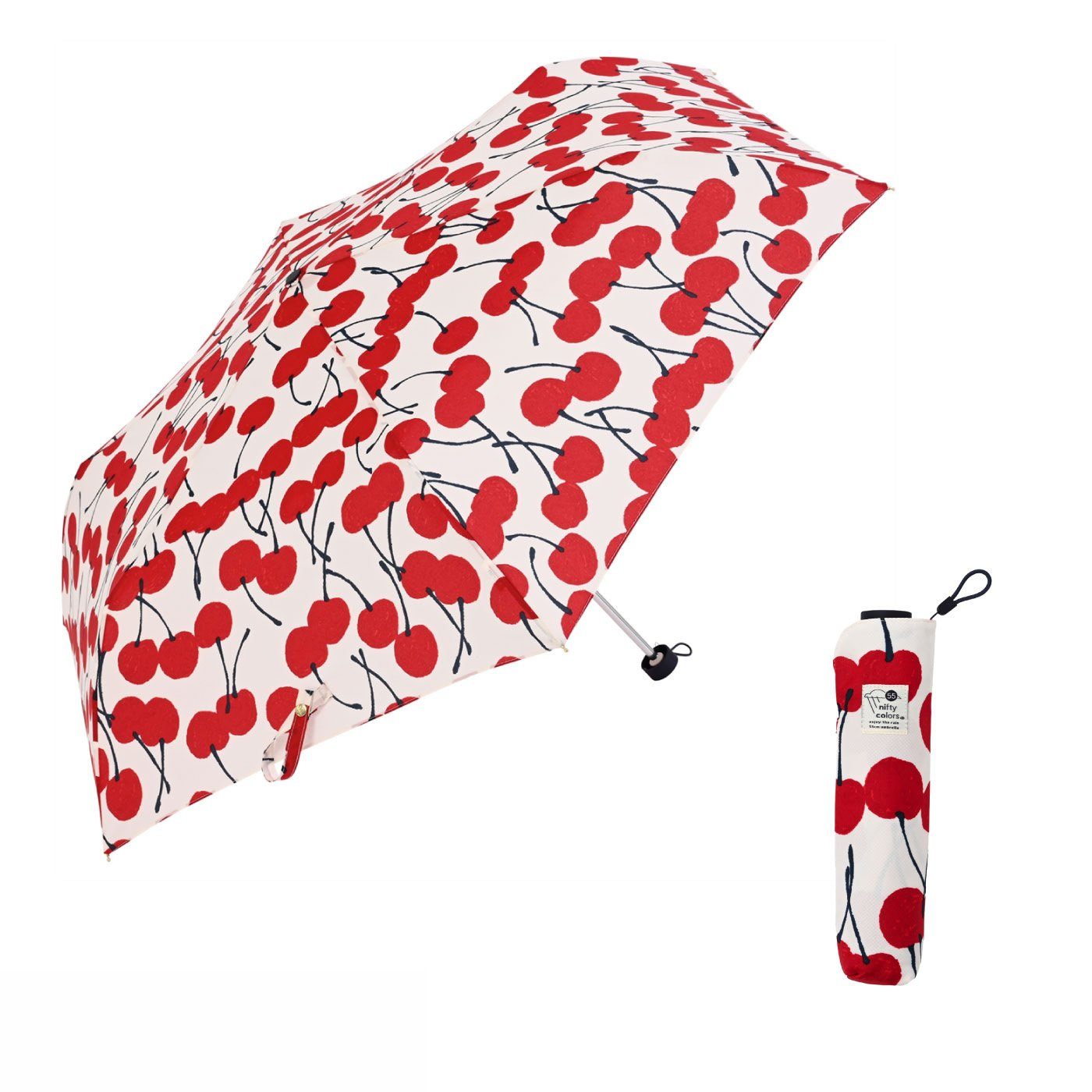 大人かわいいチェリー柄にうっとり!ちょっと大きめ55cmのチェリー雨傘