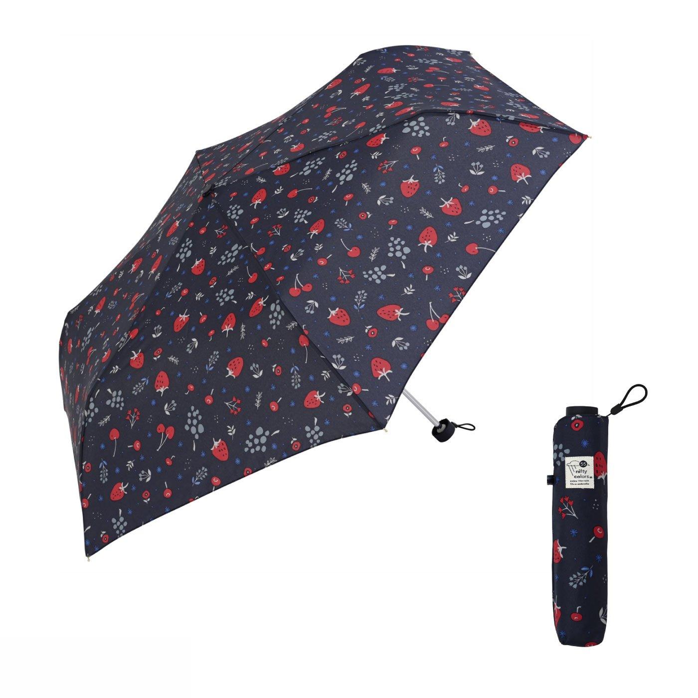 大人が持ちたいいちご柄 ちょっと大きめ55cmのフルーツ雨傘