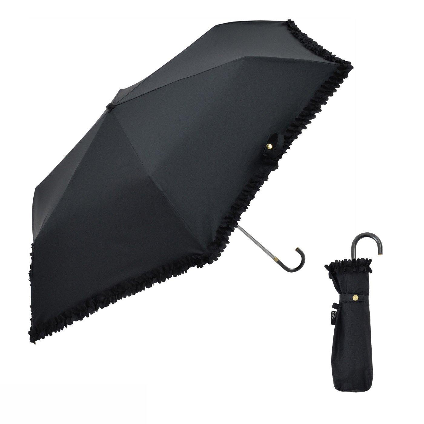 上品でかわいい大人の女性のための 晴雨兼用 折りたたみ遮光日傘ミニ フリル