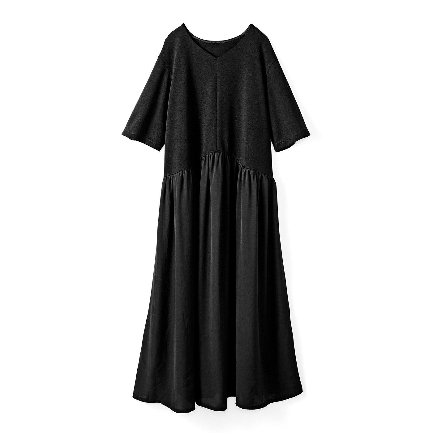 IEDIT[イディット] トップスは吸汗速乾カットソー スカートは布はくの異素材遣い 快適着映えロングワンピース〈ブラック〉