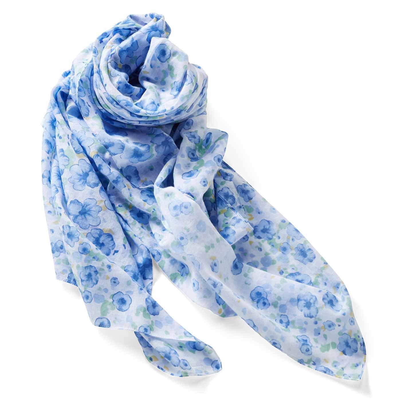IEDIT[イディット] きれい色をふんわりまとう 超大判フラワーコットンストール〈ブルー〉