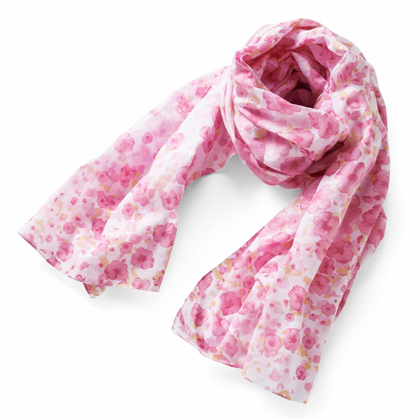 IEDIT[イディット] きれい色をふんわりまとう 超大判フラワーコットンストール〈ピンク〉