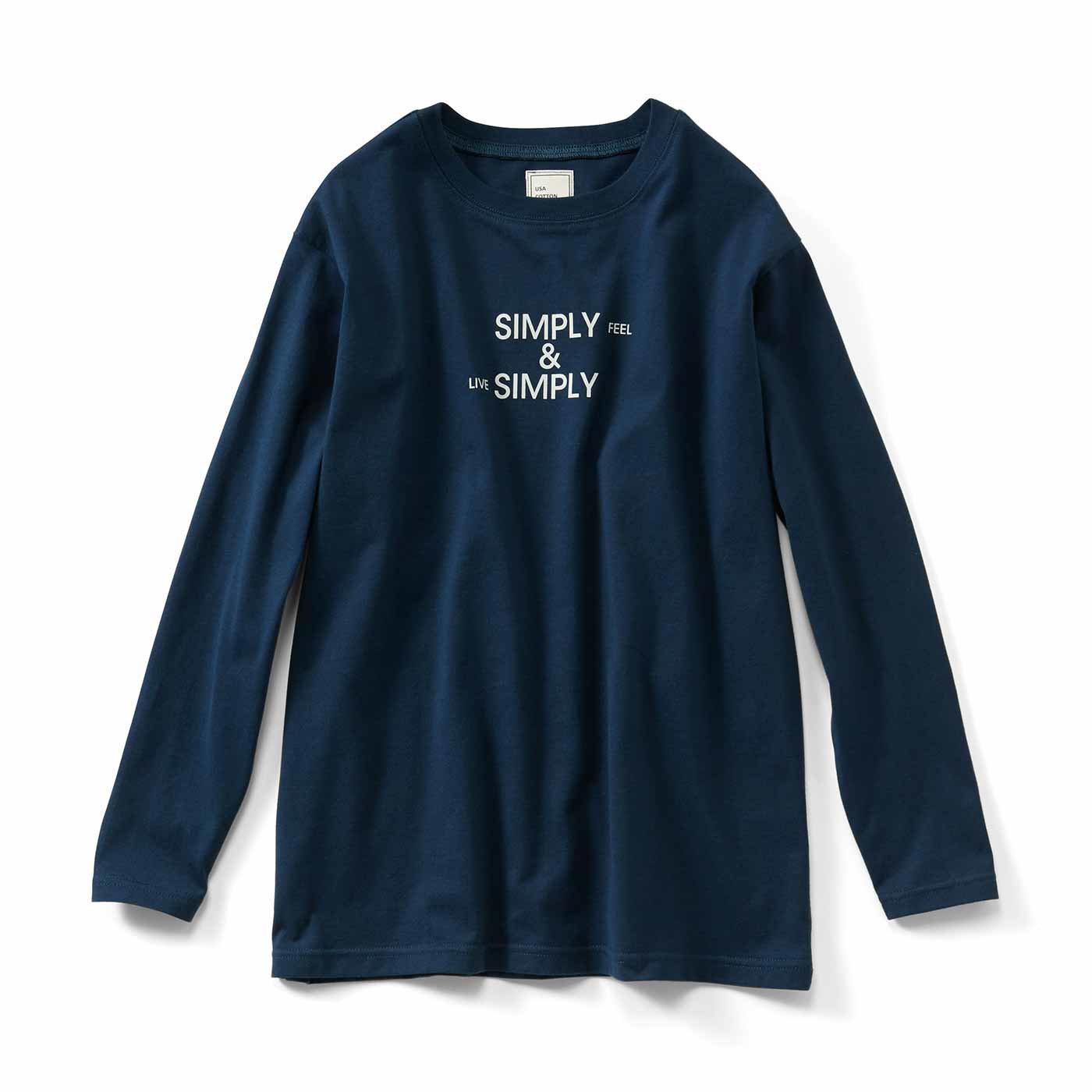 IEDIT[イディット] USAコットンの大人ロゴTシャツ〈ネイビー〉