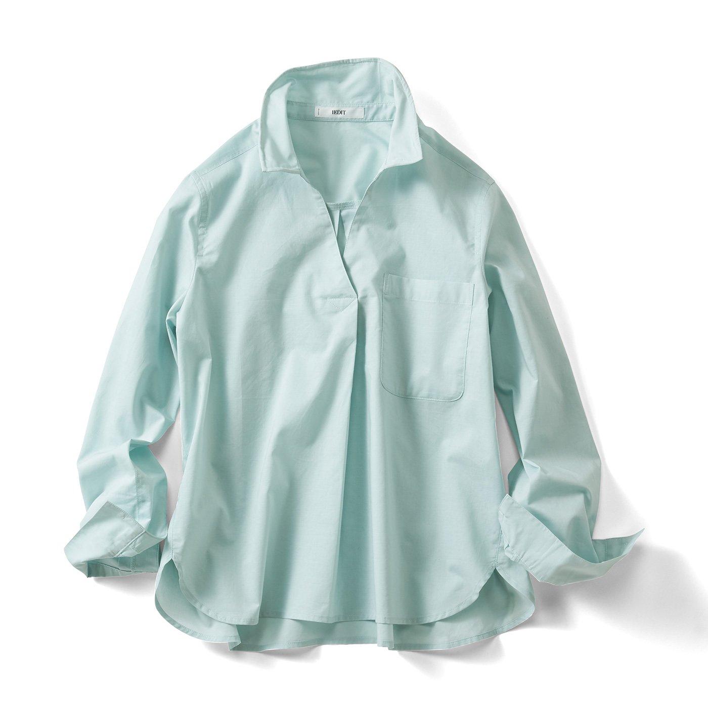 IEDIT[イディット] ワイヤー入り衿で着こなし自在 スキッパーシャツプルオーバー〈グリーン〉