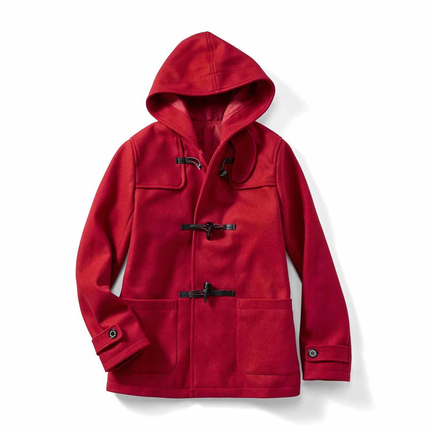 IEDIT[イディット] 裏キルティングで暖か 軽やかウール混素材のベストバランス大人ダッフルコート〈レッド〉