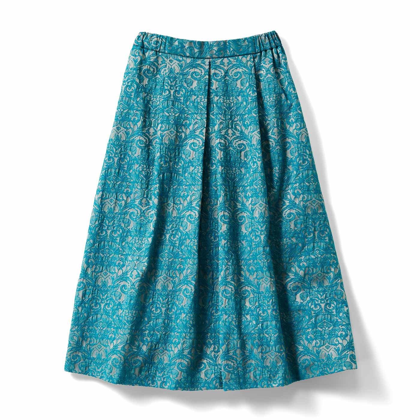IEDIT[イディット] 裏フリース素材のジャカード柄フレアースカート〈グリーン〉