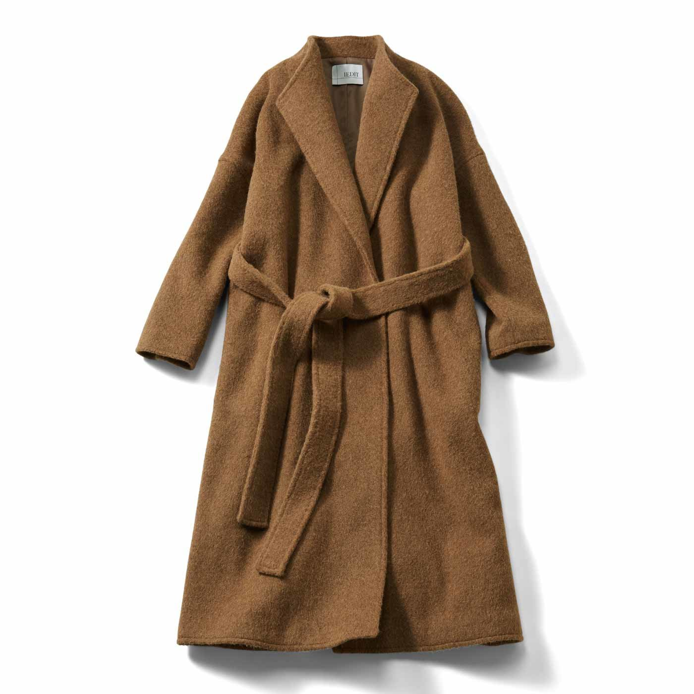 IEDIT[イディット] 包まれる着心地の毛布みたいなロングガウンコート〈キャメル〉