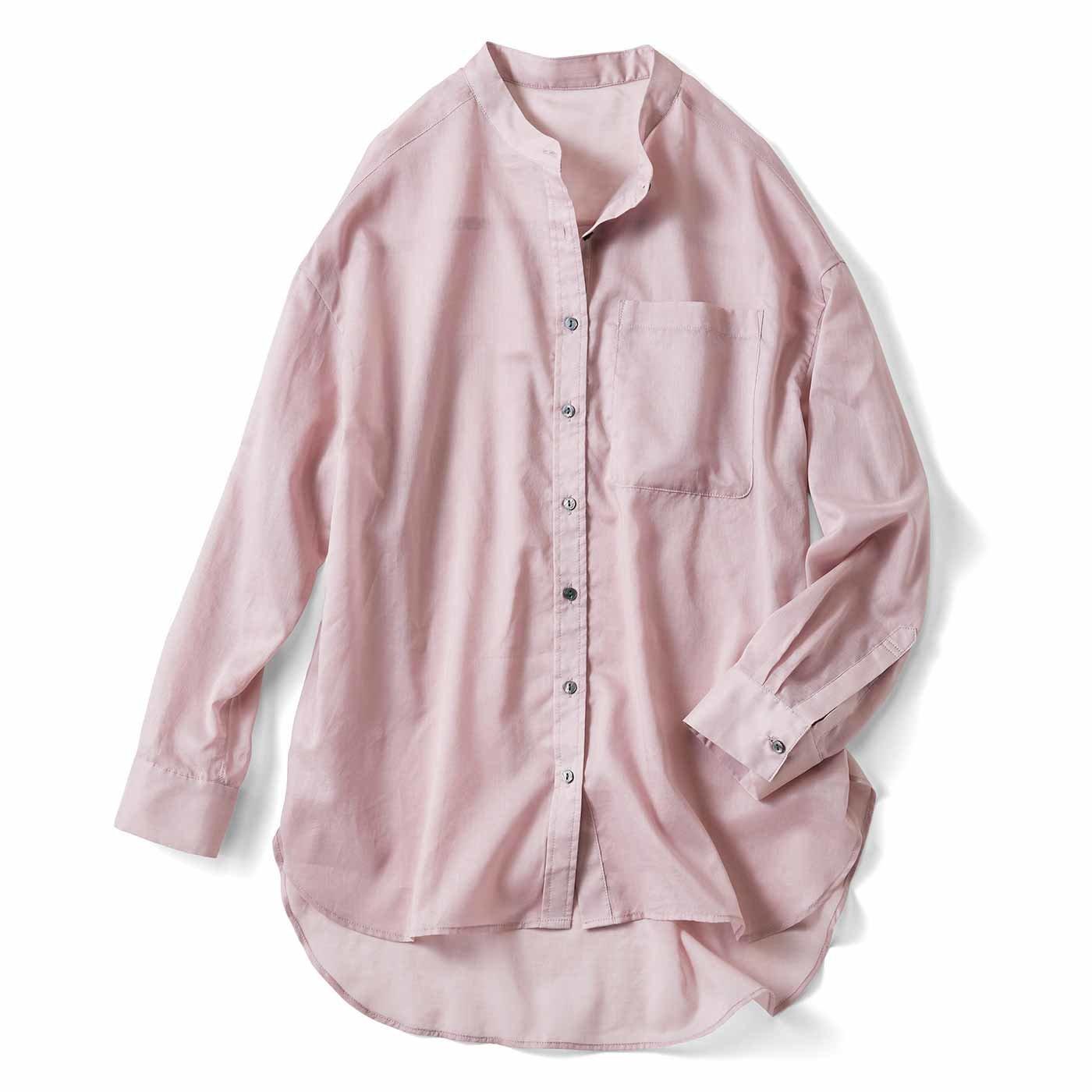 リブ イン コンフォート サラッとはおって大人のおしゃれ 着こなしの幅も広がるコットンシアーシャツ〈ラベンダーピンク〉