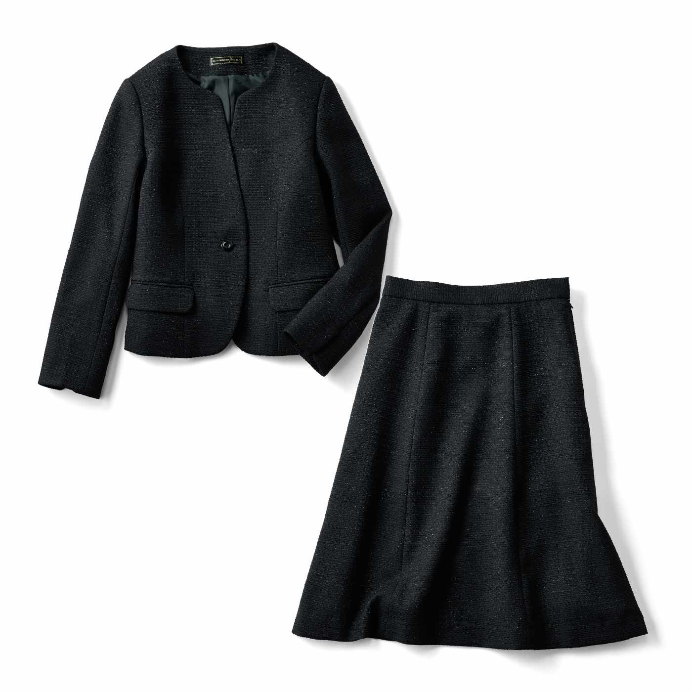 IEDIT[イディット] 華やぎで魅了する上品セットアップスーツ〈ブラック〉