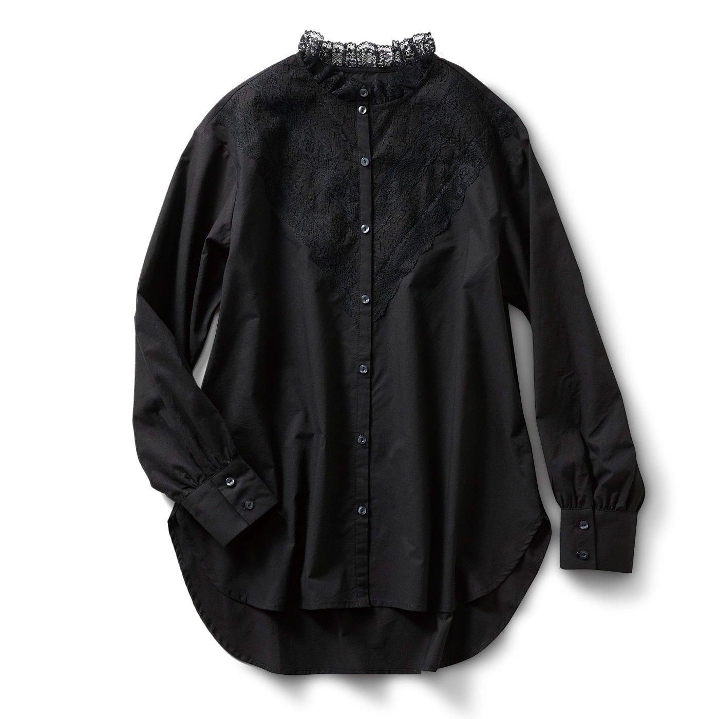 IEDIT[イディット] コットン混のヴィクトリアン調 レースロングブラウス〈ブラック〉