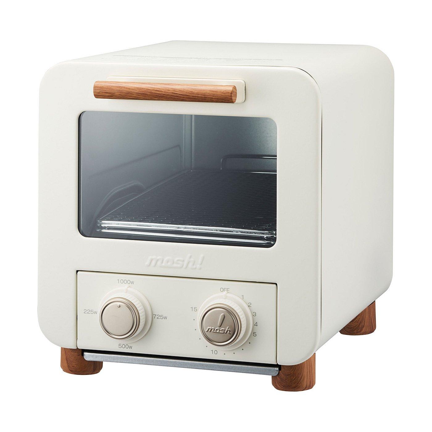 キュートなルックスでパワフル A4サイズほどに置けるコンパクトトースター〈アイボリー〉