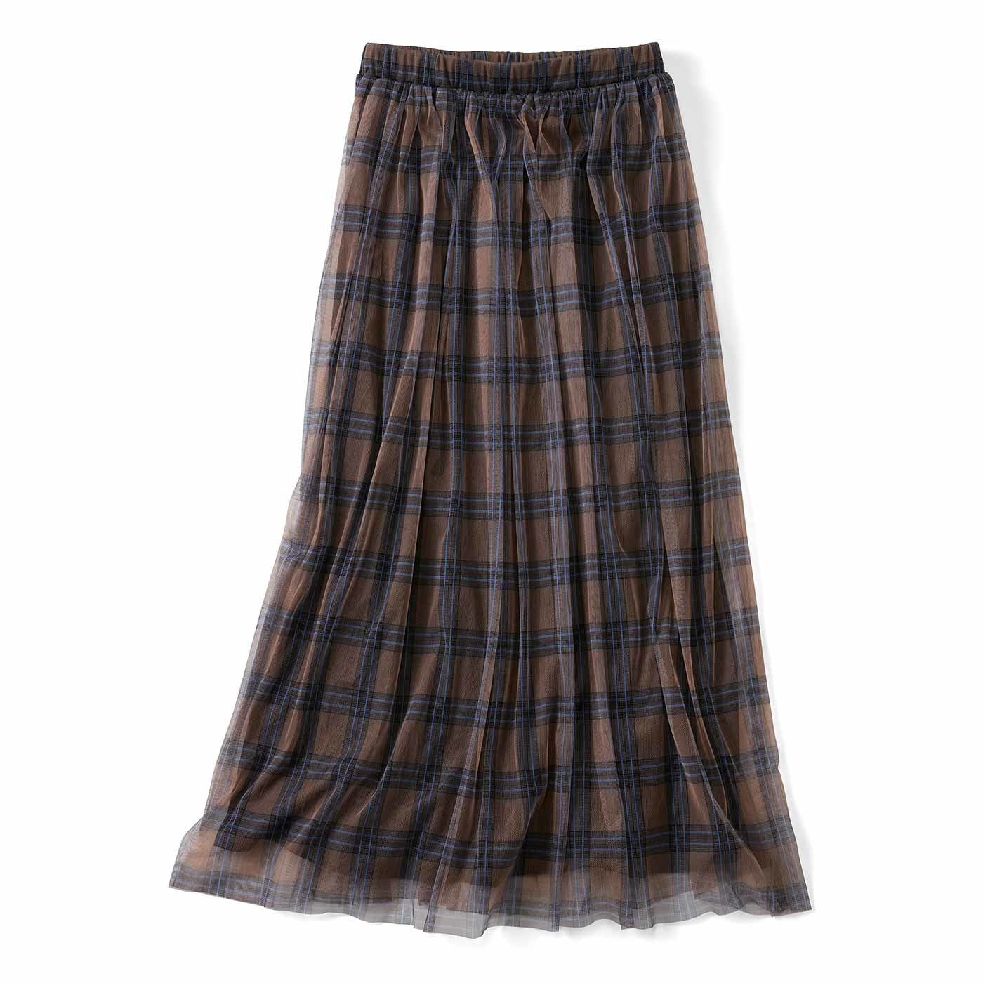 リブ イン コンフォート チェックチュールが華やかなふんわりギャザースカート〈チョコレートベージュ〉