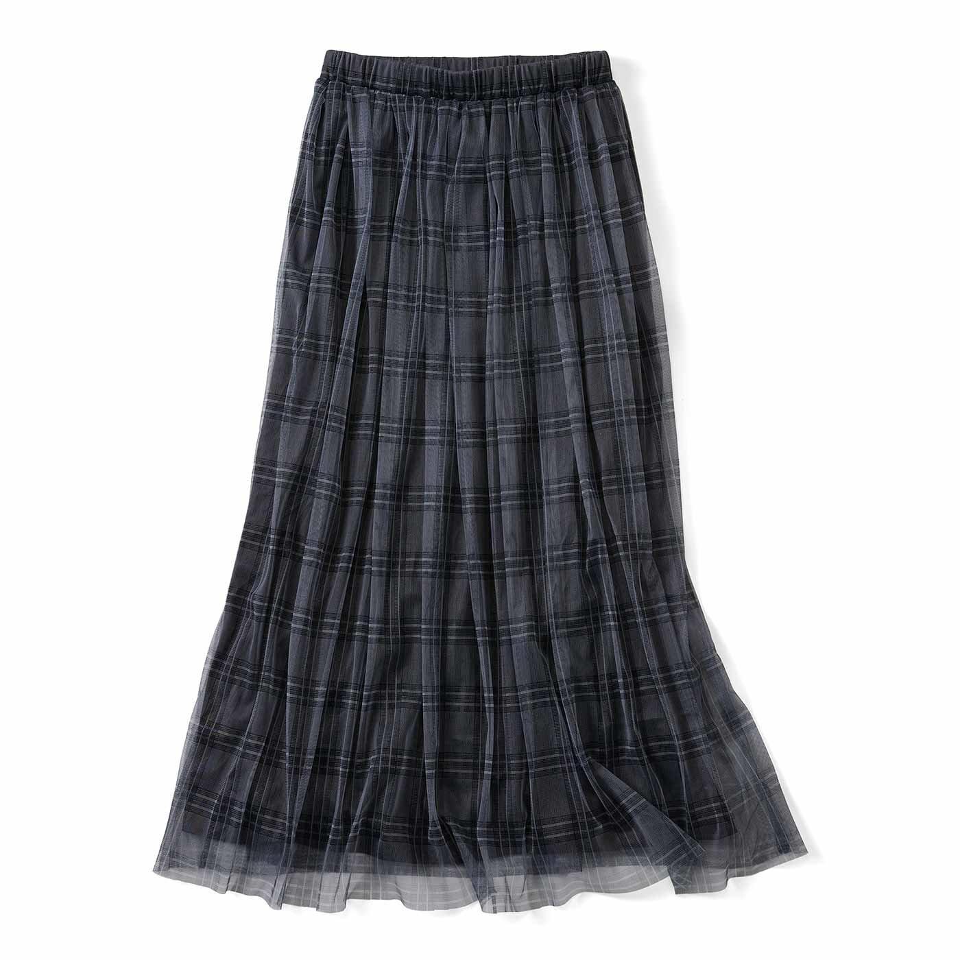 リブ イン コンフォート チェックチュールが華やかなふんわりギャザースカート〈グレー〉