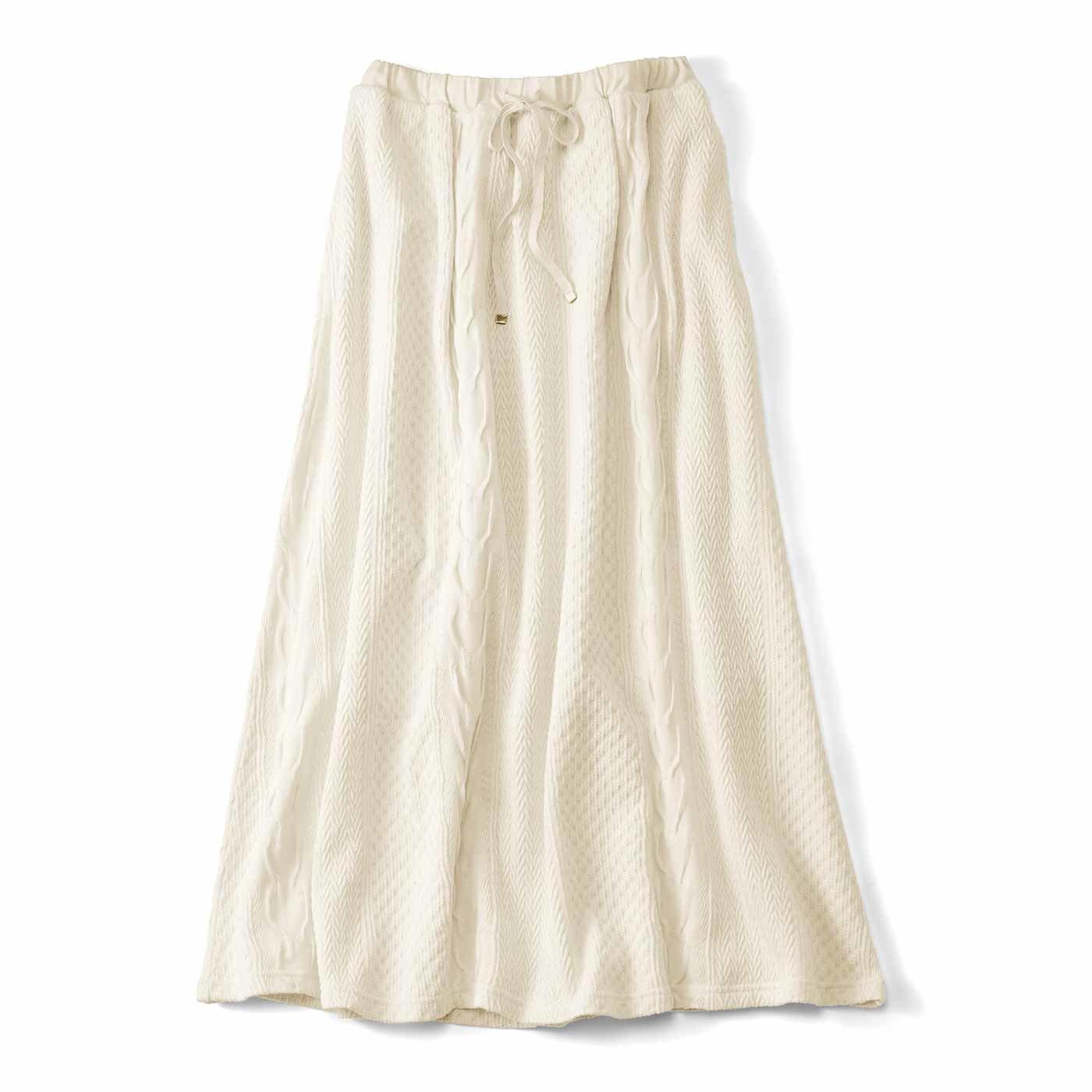 Live love cottonプロジェクト リブ イン コンフォート 編み柄が素敵なオーガニックコットンロングスカート〈アイボリー〉