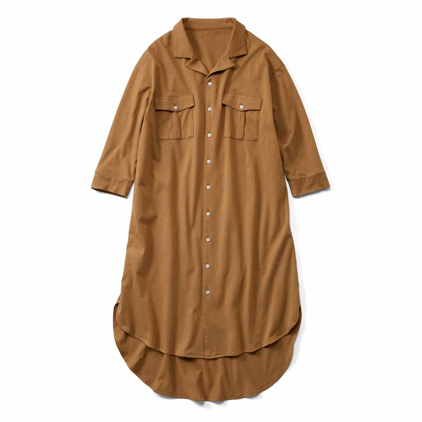 リブ イン コンフォート カットソー素材でらくちん! 着るだけでスタイル決まるシャツワンピース〈マスタード〉