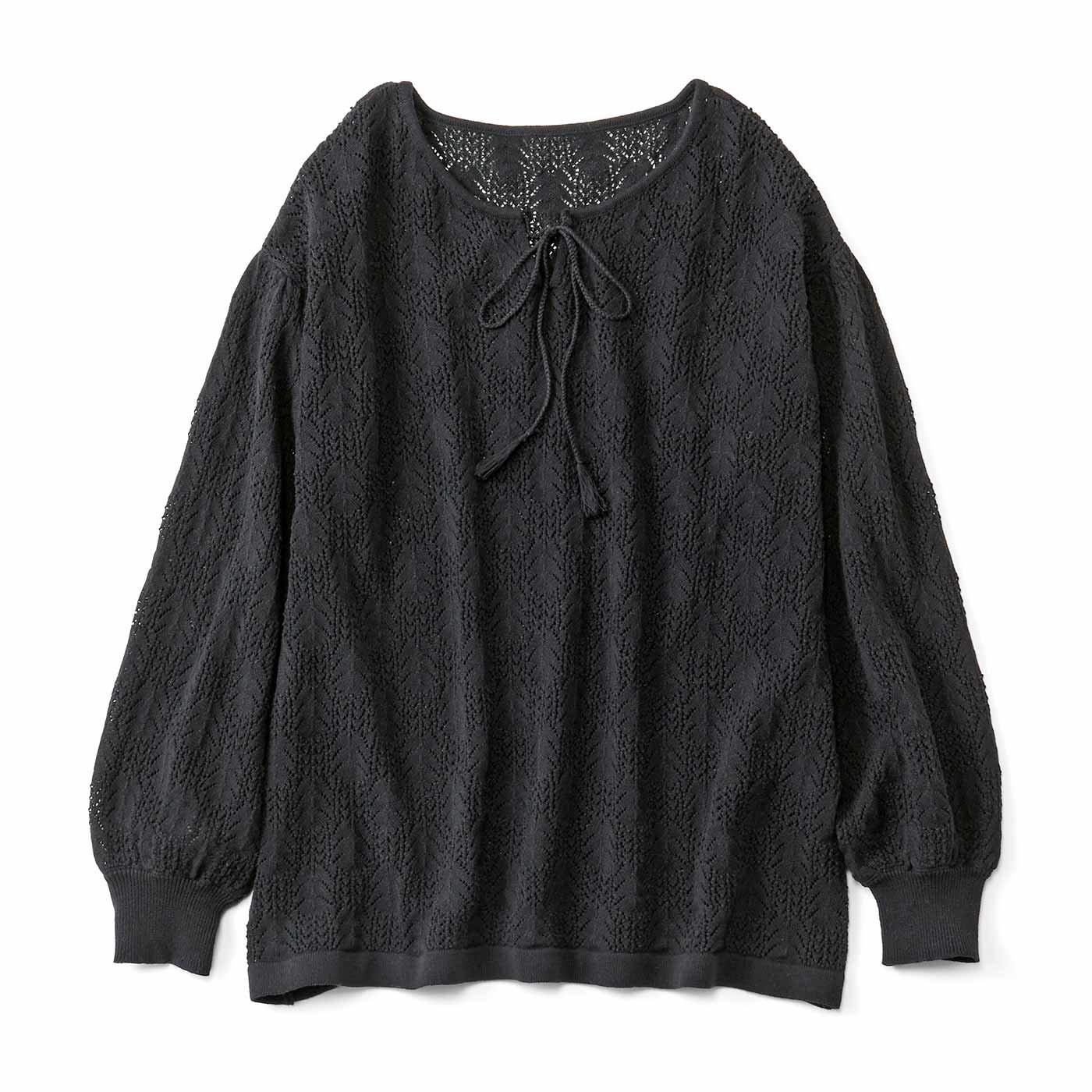リブ イン コンフォート コットン100%の繊細な模様編みニットトップス〈ブラック〉