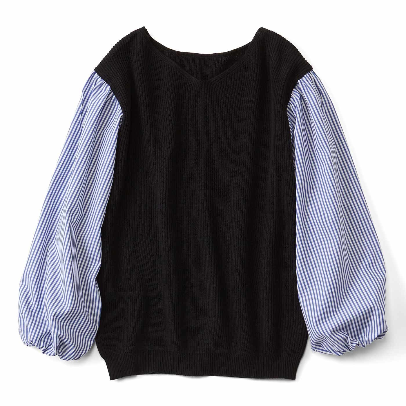 リブ イン コンフォート コットン100%の心地よさときちんと感を一枚で楽しむ 布はくドッキングニットトップス〈ブラック×ストライプ〉