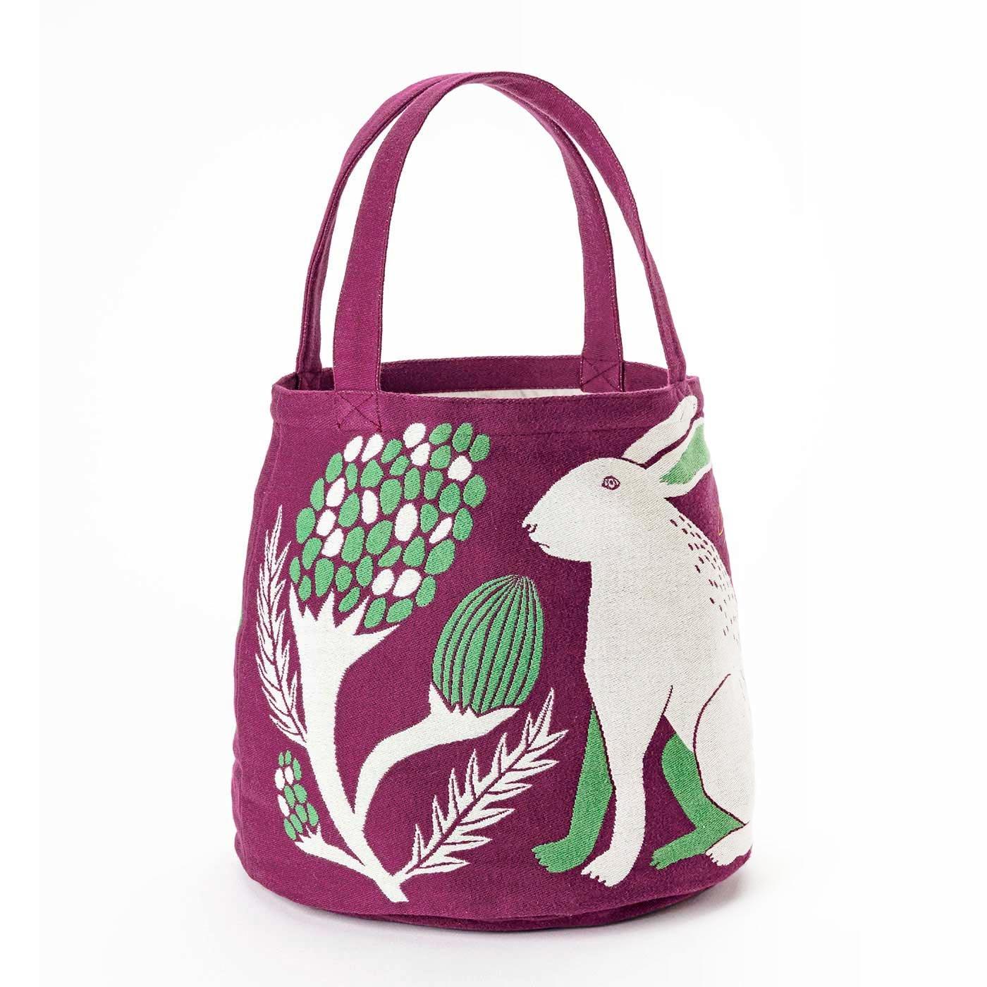挿絵画家moritaMiW 織り柄が味あり!  しっかり厚手 かわいいコロリンバッグ