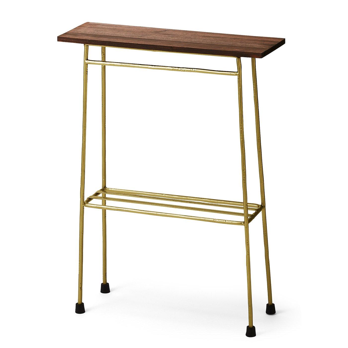 スリムで少し背が高い ちょい置き細長テーブル〈ゴールドカラー〉の会