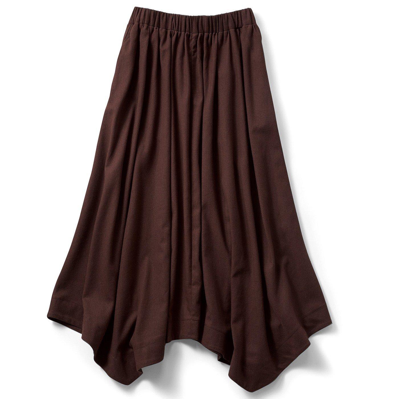 IEDIT[イディット] リネン混のイレギュラーヘムロングスカート〈ブラウン〉