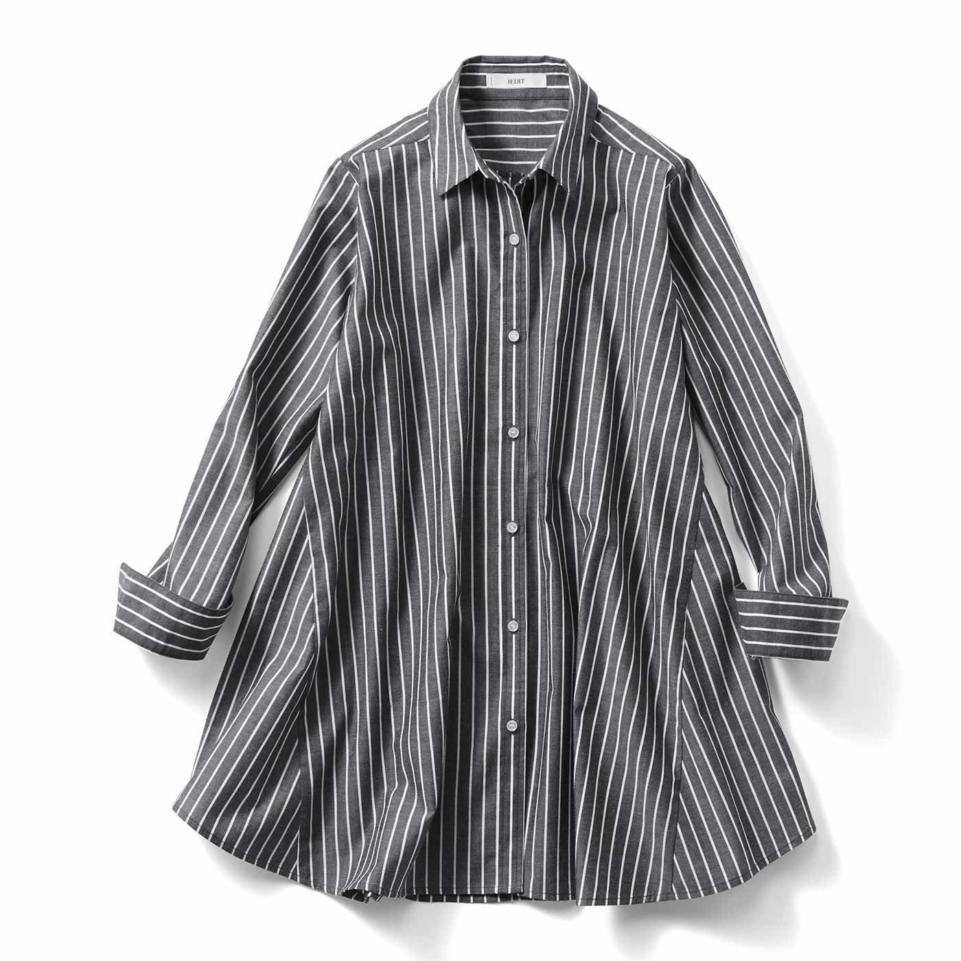 IEDIT[イディット] たっぷりフレアーが印象的なAラインシャツチュニック〈ブラックストライプ〉