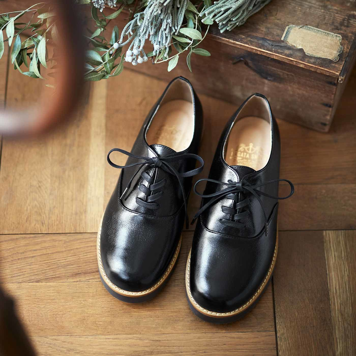 靴デザイナーと作った 職人本革のポストマンシューズ〈ブラックスピネル〉[本革 靴:日本製]
