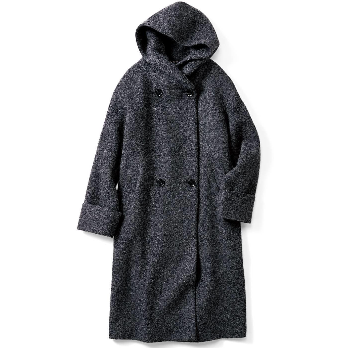 IEDIT スライバーニット素材で軽くて暖か フードデザイン毎日ロングコート〈グレー〉