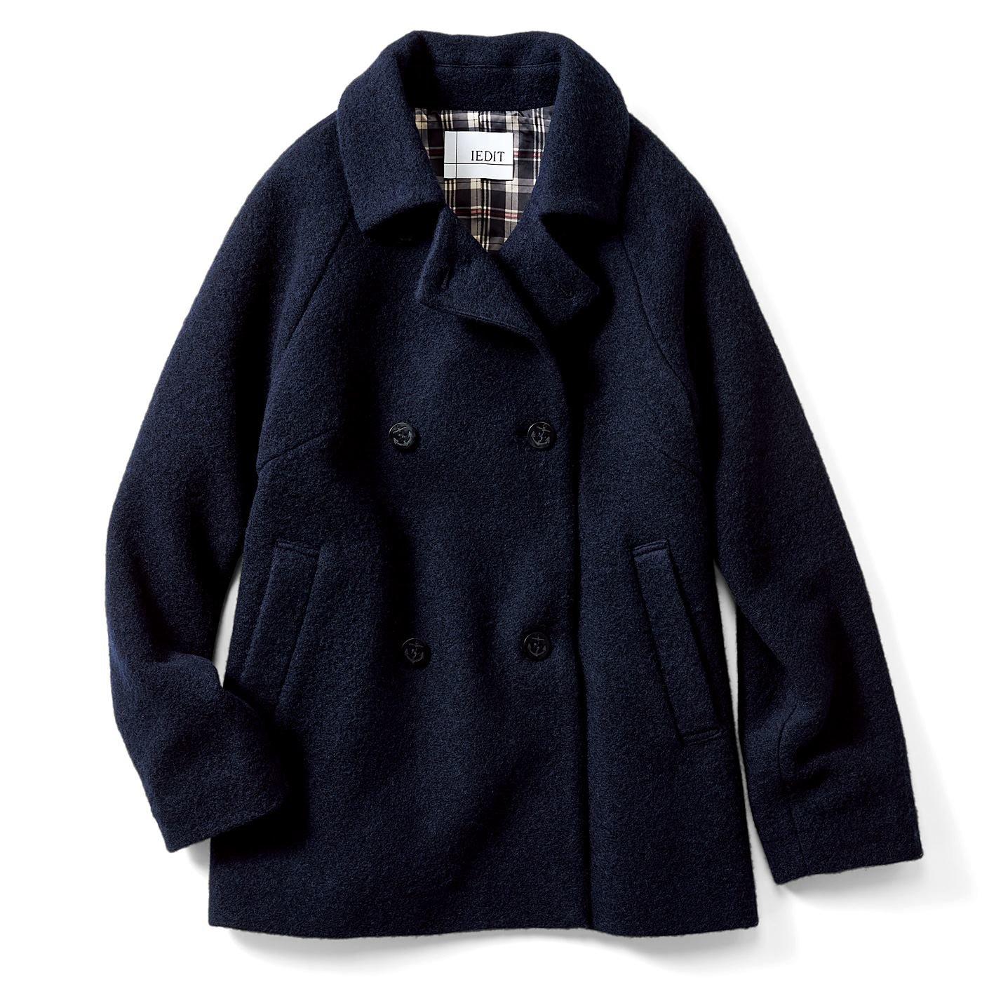 IEDIT スライバーニット素材で軽くて暖か 軽やかハーフ丈Pコート〈ネイビー〉