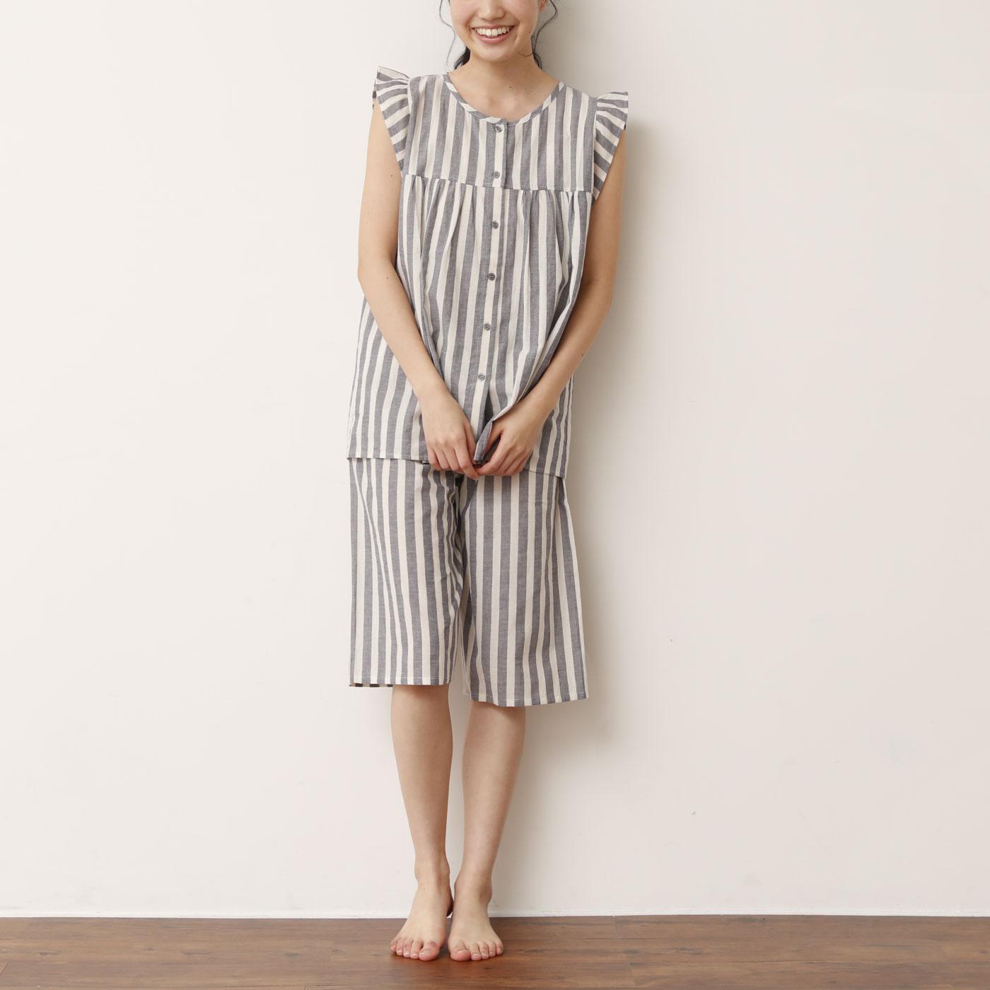 フリル袖がさりげにかわいい 夏の快眠ノースリーブパジャマ