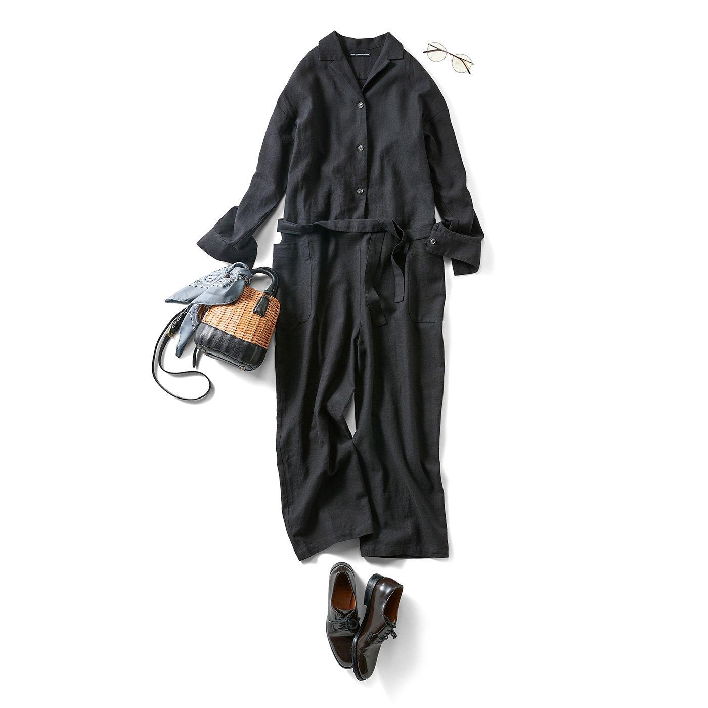 THREE FIFTY STANDARD 金子敦子さんと作った 綿麻のシックなジャンプスーツ〈黒〉