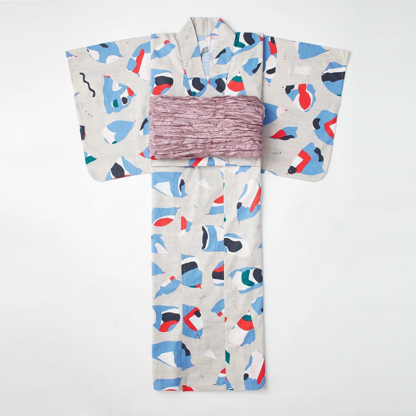 【3~10日でお届け】京都Subikiawa食器店さんとつくった 風船鳥柄の浴衣(ゆかた)〈レディース〉