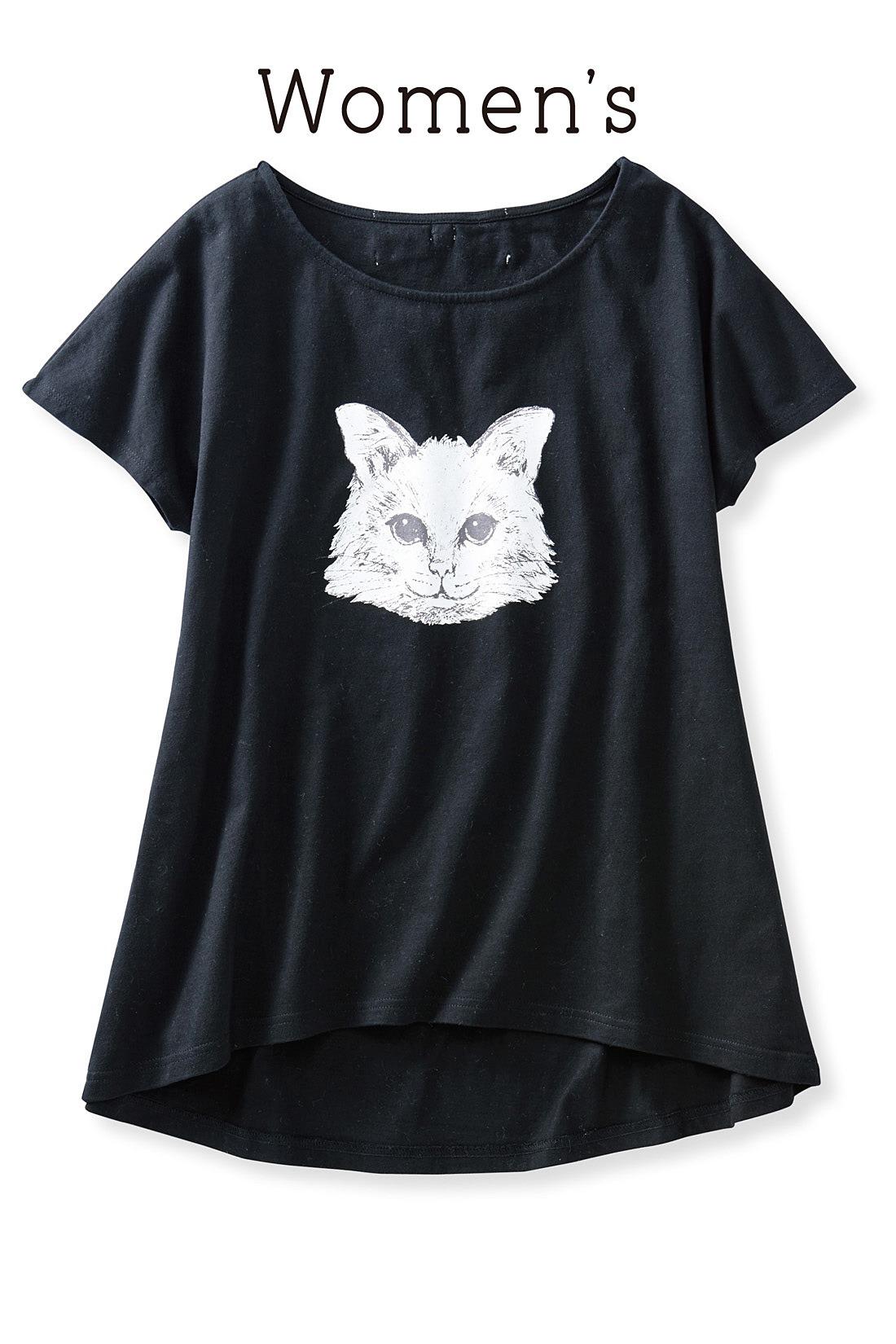 レディースはモノクロの猫プリント。