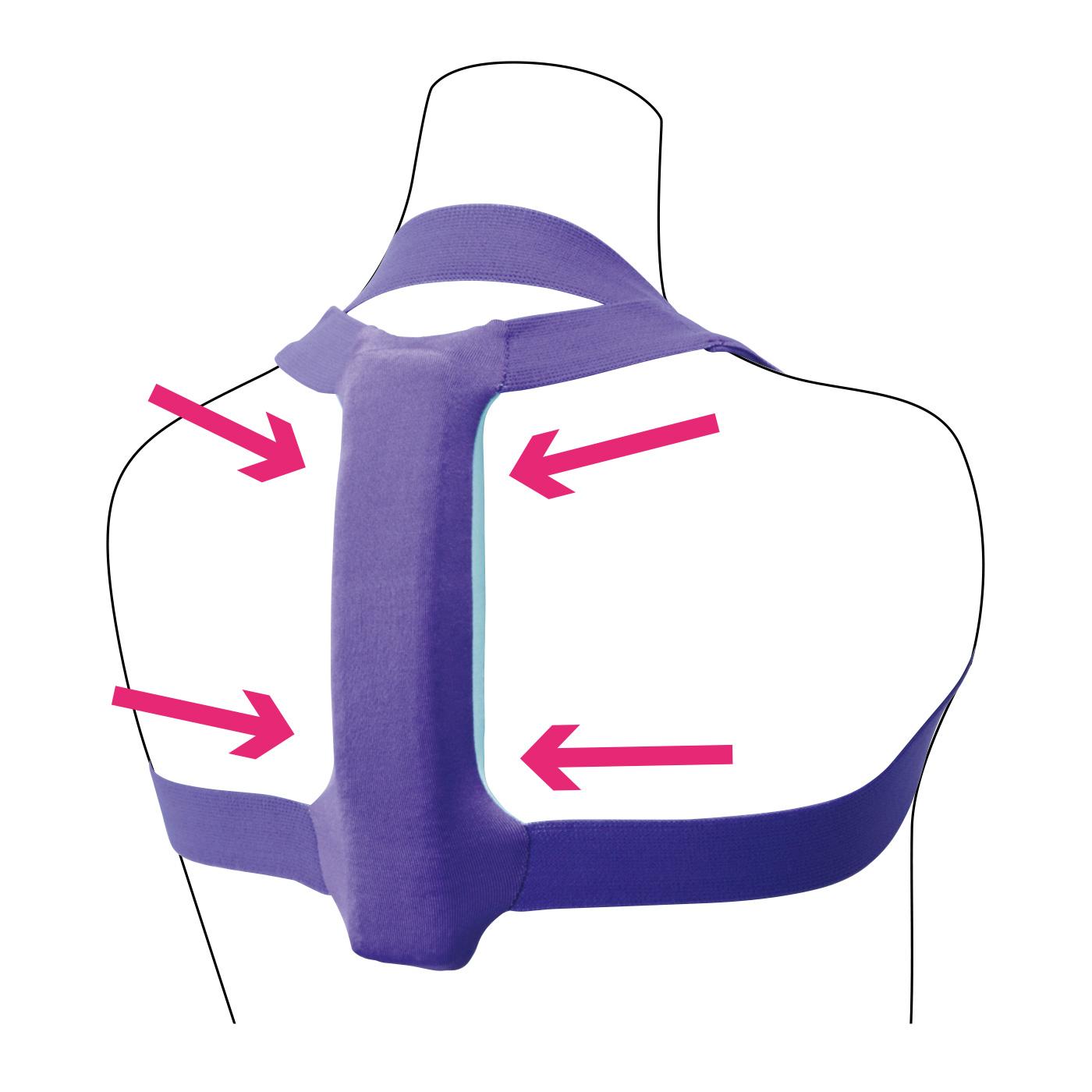 背中に当たる部分はアールが付いていて、気持ちよくストレッチ。動いても上にずれにくい仕様。