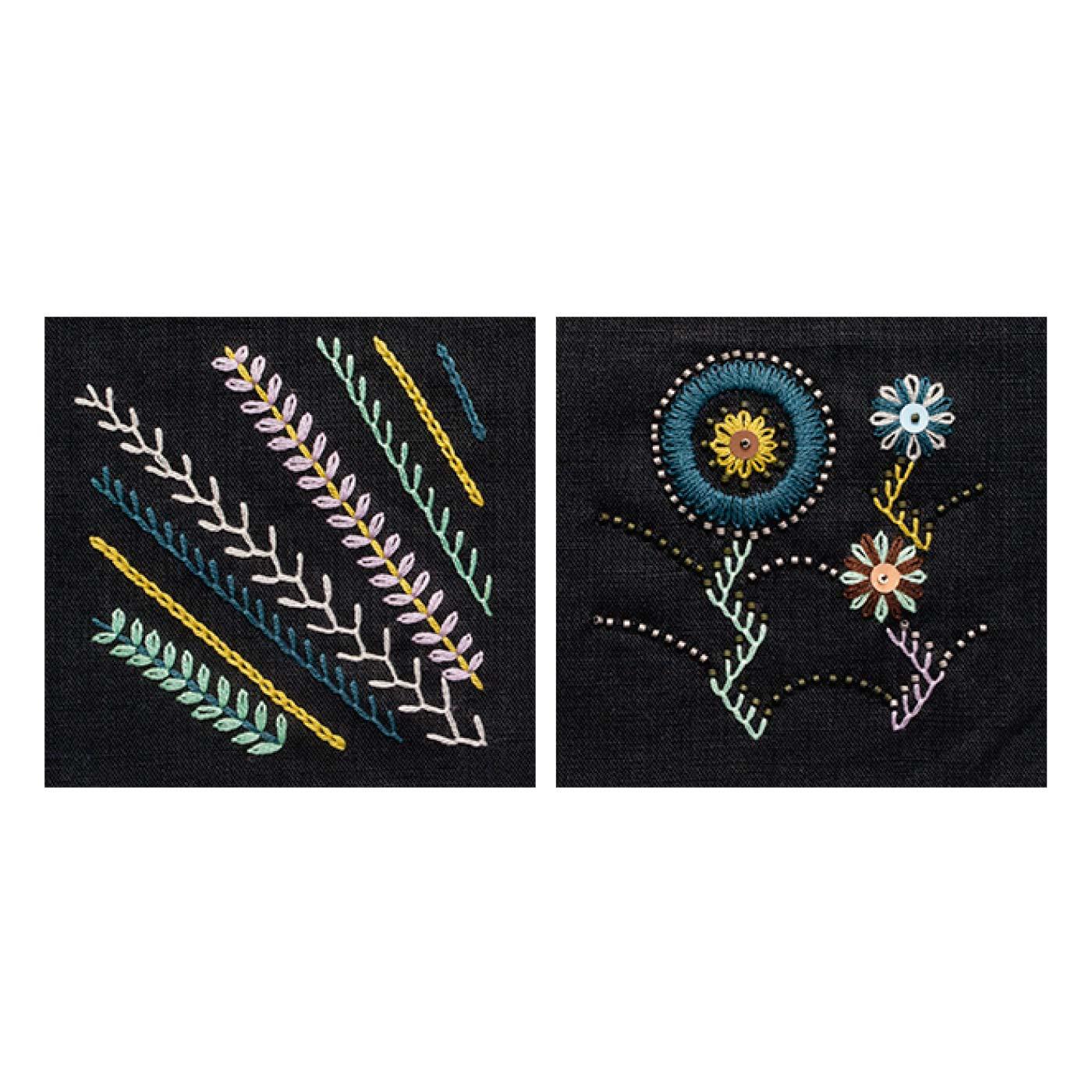 直線や円を描くレッスン(レゼーデージーステッチなど) 草と花