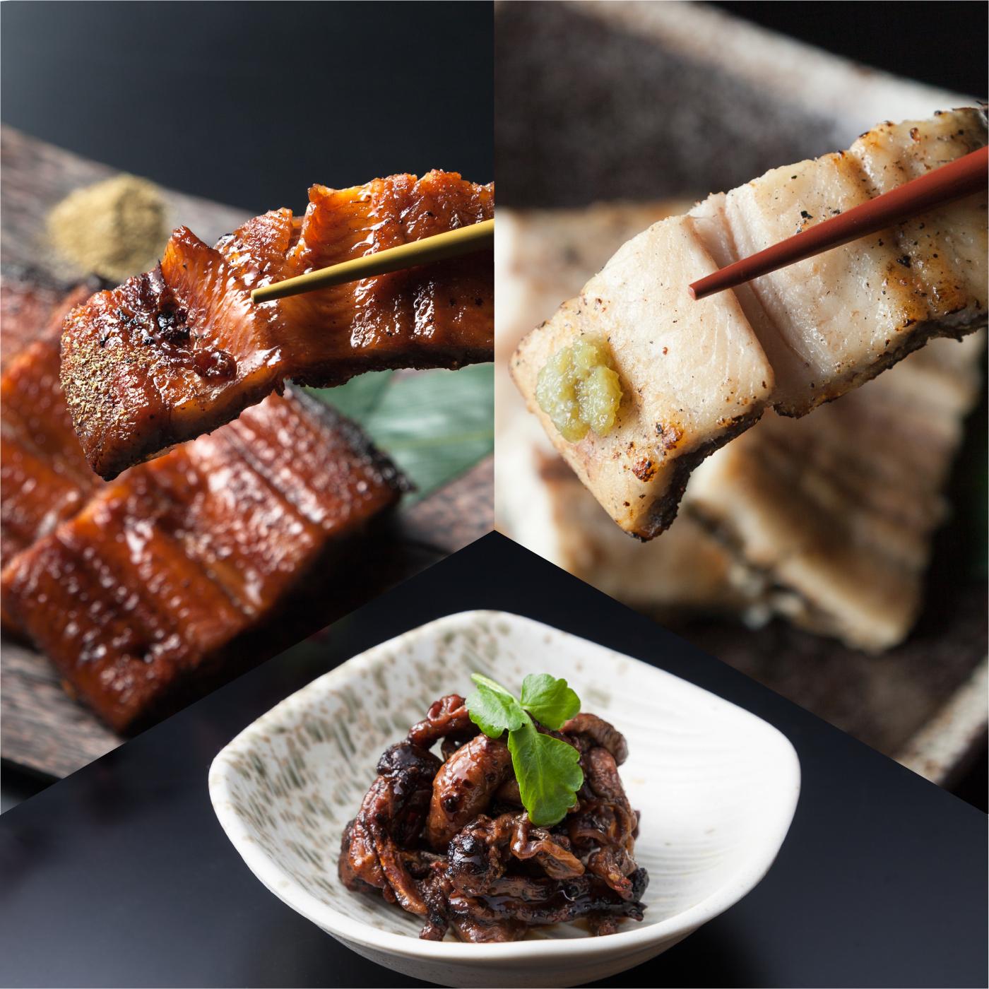 左上:蒲焼 右上:白焼 下中央:鰻肝焼