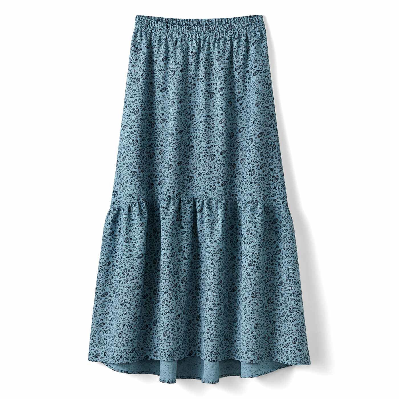 【3~10日でお届け】IEDIT[イディット] 福田麻琴さんコラボ 着まわし力抜群の2-WAYスカート〈グレイッシュブルー〉