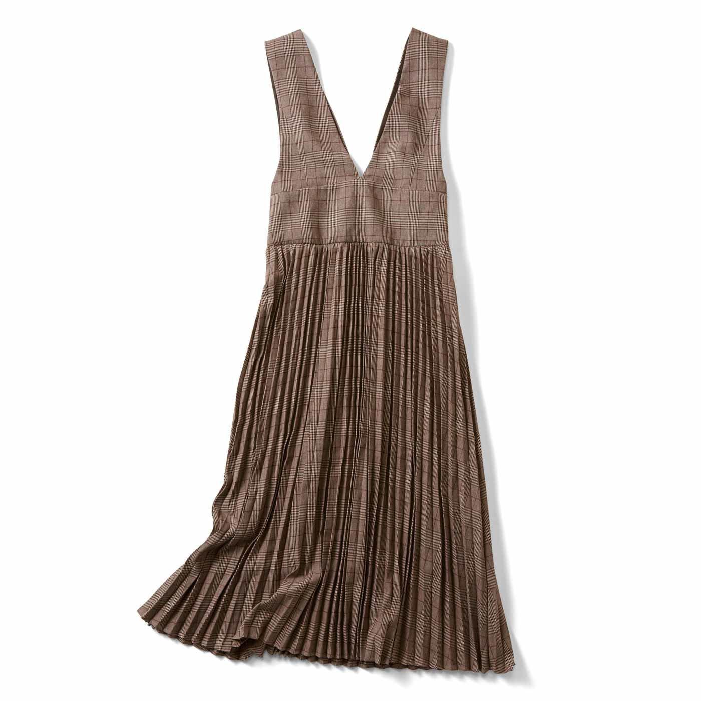 【3~10日でお届け】IEDIT[イディット] 深Vネックですっきり着こなせる グレンチェックジャンパースカート〈ブラウン〉