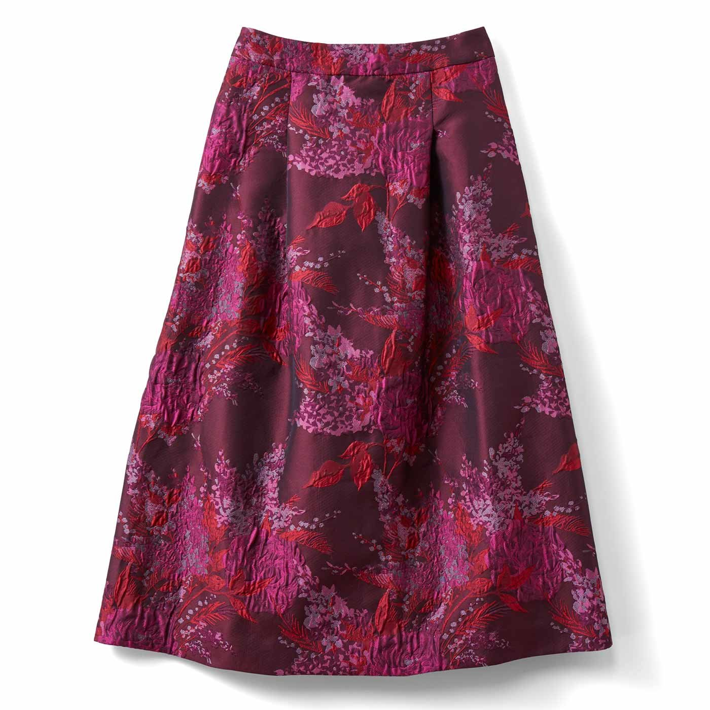【3~10日でお届け】IEDIT[イディット] 一点投入で着映えする ミドル丈ジャカードスカート〈ピンク〉
